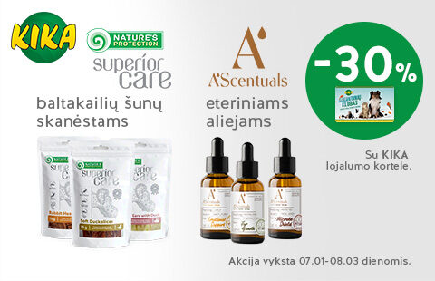 Natures Protection Superior Care skanėstams ir A'scentuals eteriniams aliejams -30%