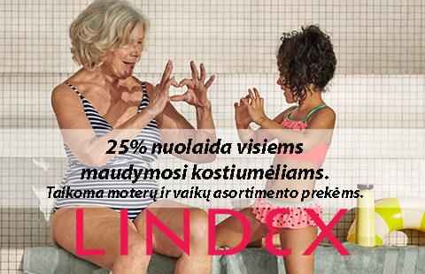25% nuolaida visiems moteriškiems ir vaikiškiems maudymosi kostiumėliams bei paplūdimio drabužiams