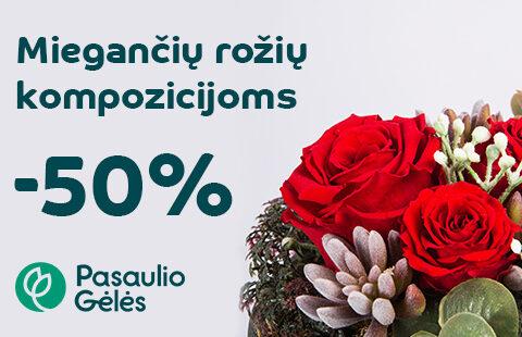 50% nuolaida miegančių rožių kompozicijoms