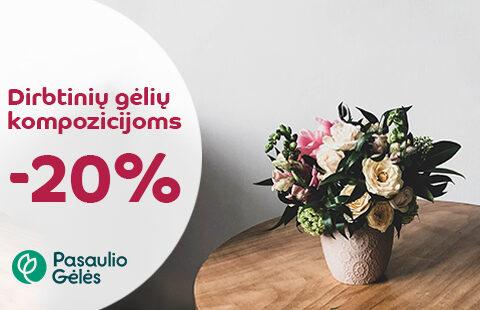 20% nuolaida dirbtinių gėlių kompozicijoms